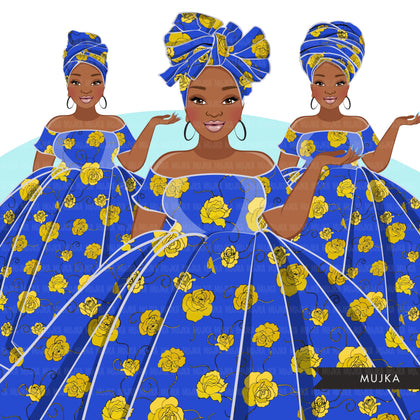 Ankara Fashion Graphics, royal blue and gold African dress, curvy black woman Sublimation designs for Cricut & Cameo, commercial use PNG clipart