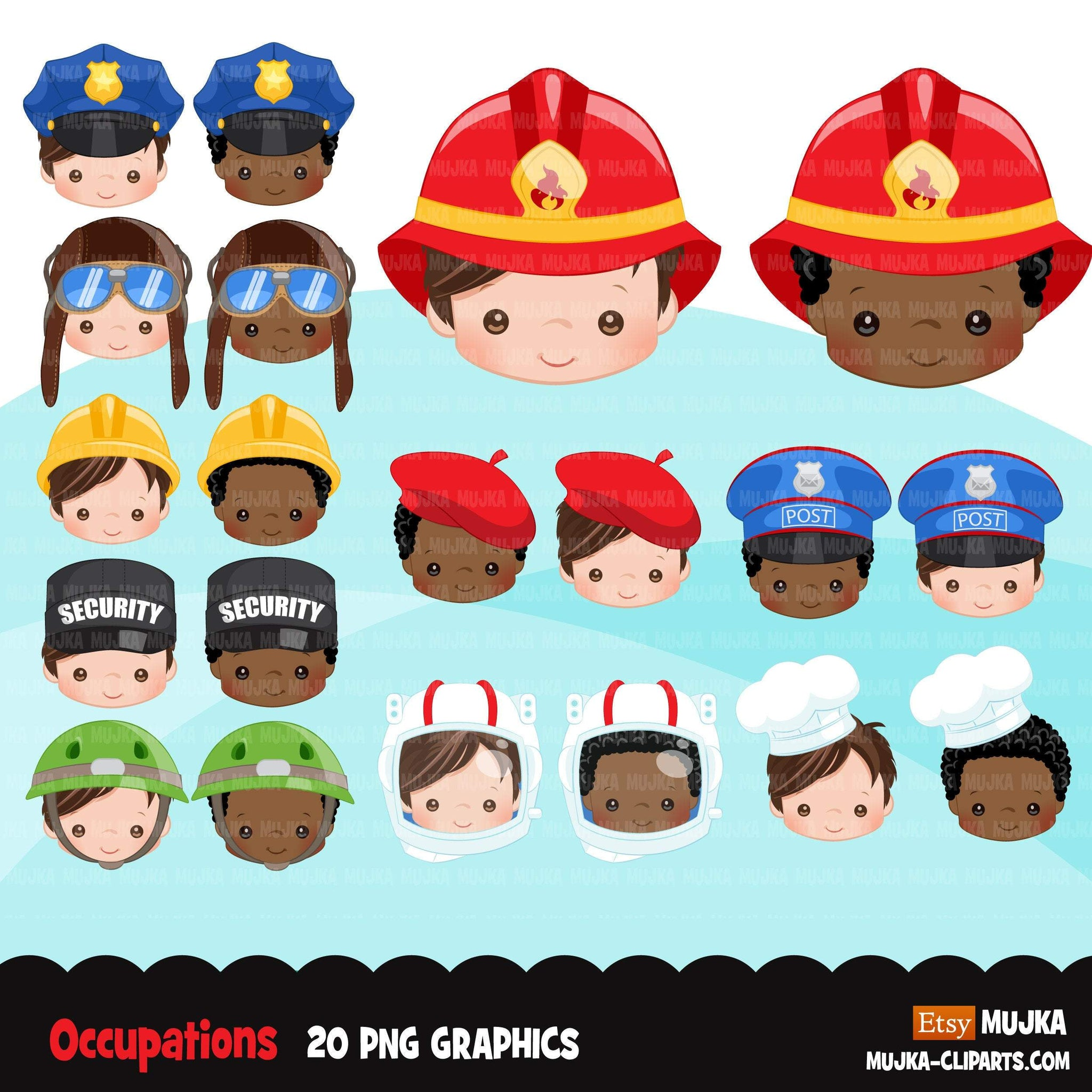 Occupations Clipart, profession graphics, firefighter, cop, chef, pilot, mailman, soldier sublimation graphics, black boys PNG clip art