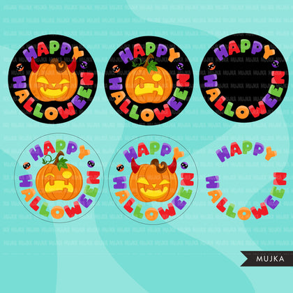 Halloween pumpkins clipart, Party parade clipart, jack o lantern Halloween graphics, PNG clip art