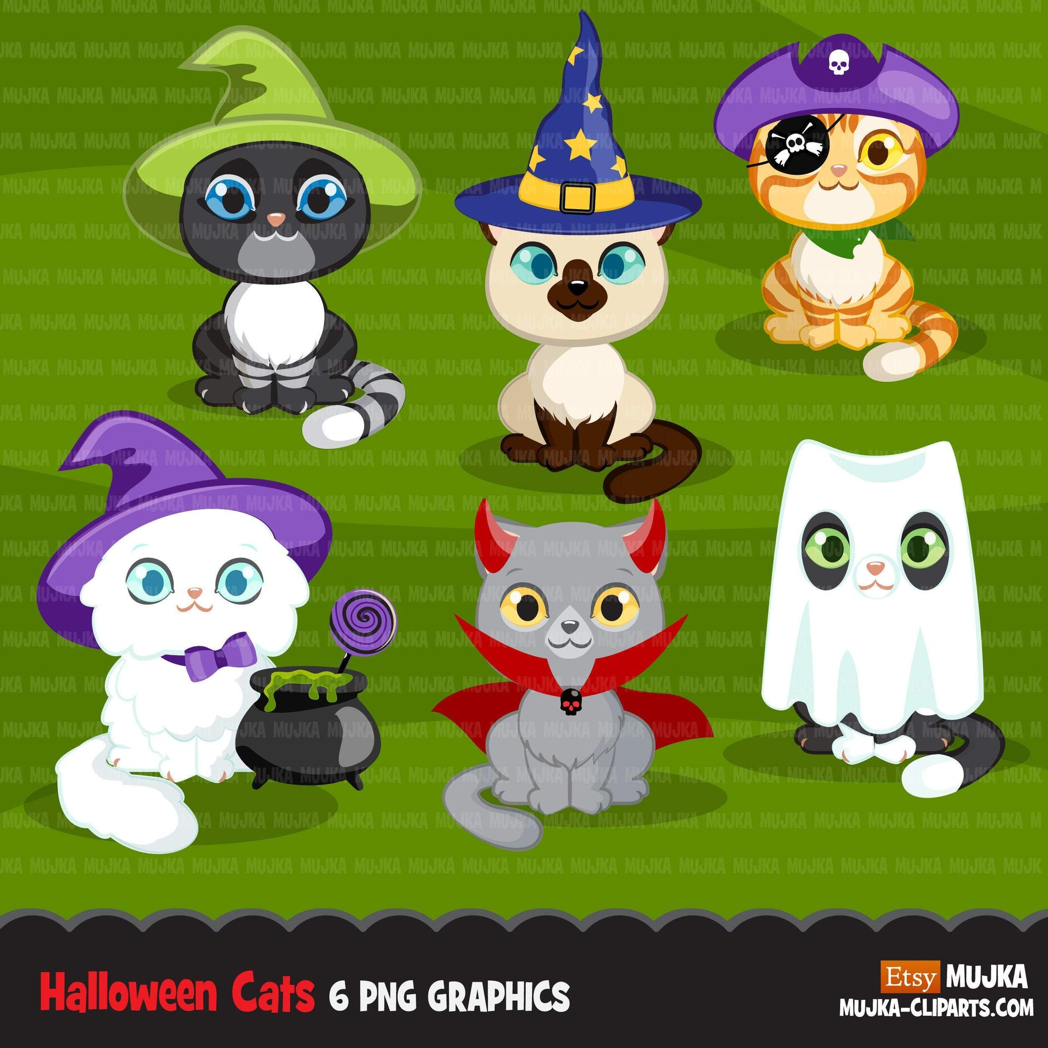 Halloween cats clipart, Black cat, Siamese, trick or treat graphics, commercial use Sublimation digital PNG clip art, animal clip art