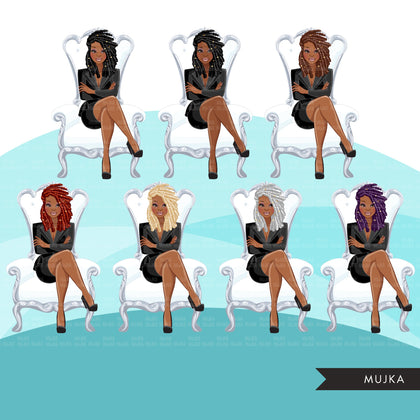 Fashion Graphics, Black BusinessWoman  white throne side braids, Sublimation designs for Cricut & Cameo, commercial use PNG clipart