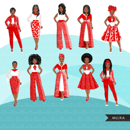 Fashion Clipart, Black woman white and red dress, sisters, friends, sisterhood Sublimation designs for Cricut & Cameo, commercial use PNG