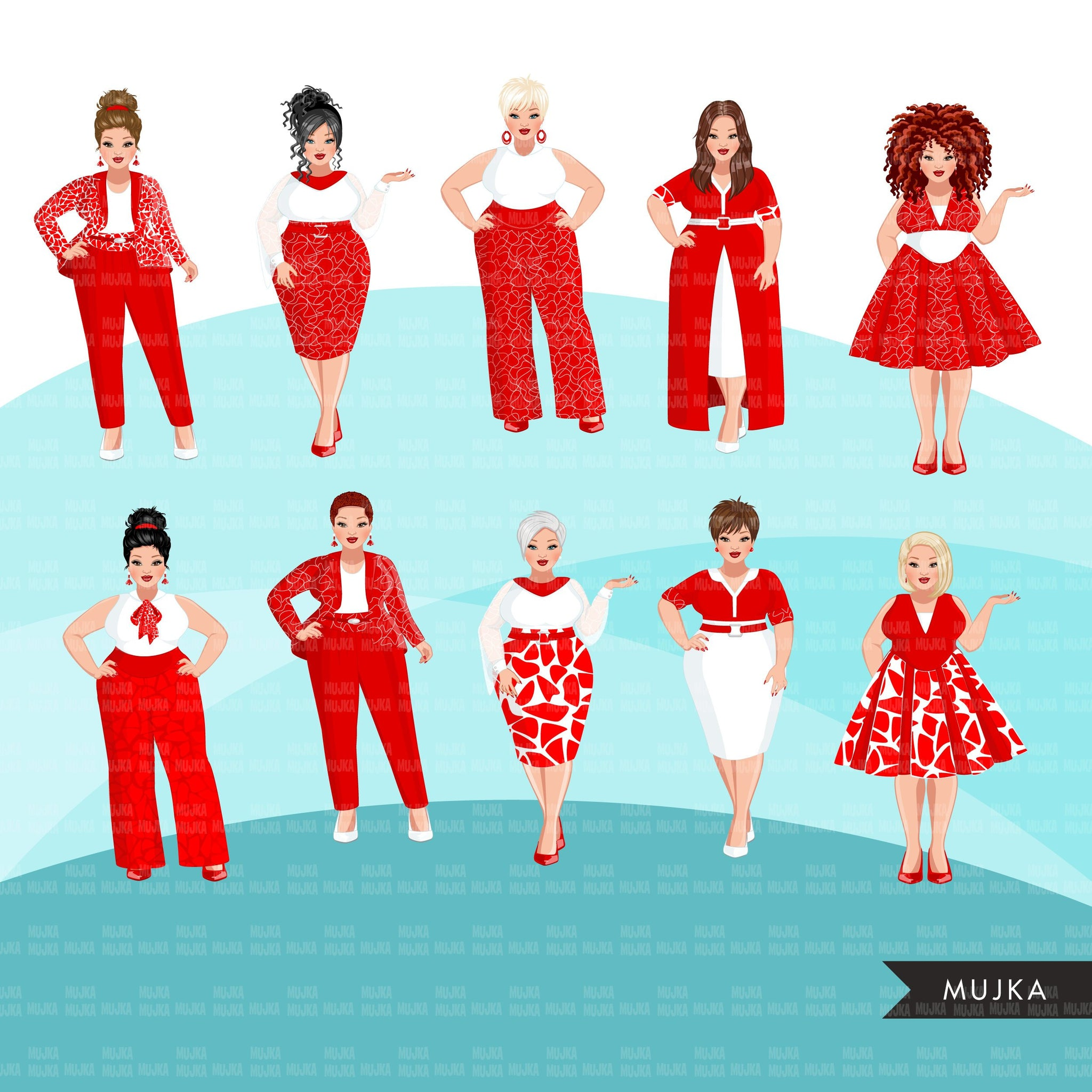 Fashion Clipart, curvy woman white and red dress, sisters, friends, sisterhood Sublimation designs for Cricut & Cameo, commercial use PNG