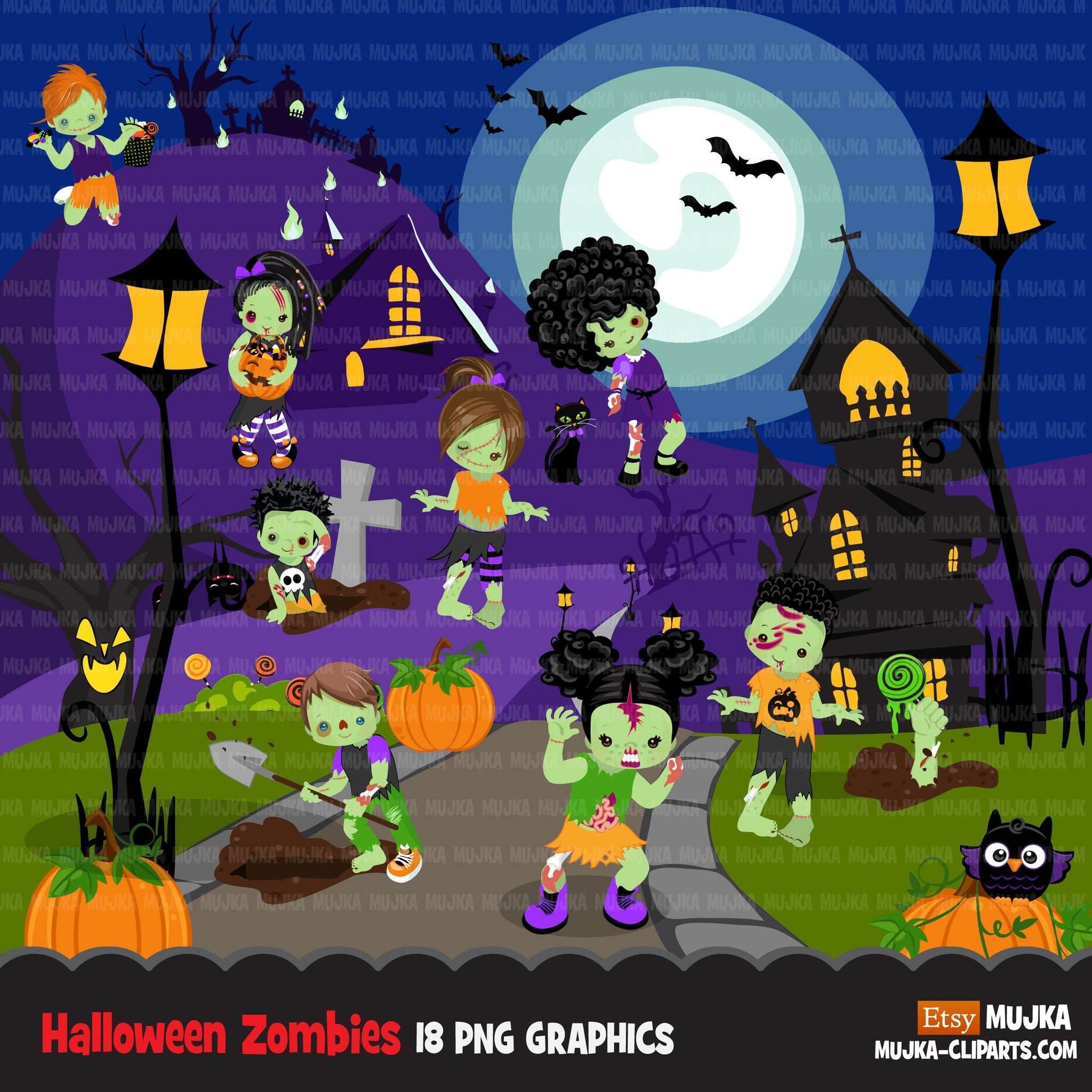Halloween clipart, zombie clipart, zombie kids, grave, rip, brains png graphics, sublimation designs, Halloween party