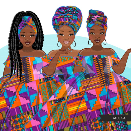 Ankara Fashion Graphics, Kente African dress, curvy black woman Sublimation designs for Cricut & Cameo, commercial use PNG clipart