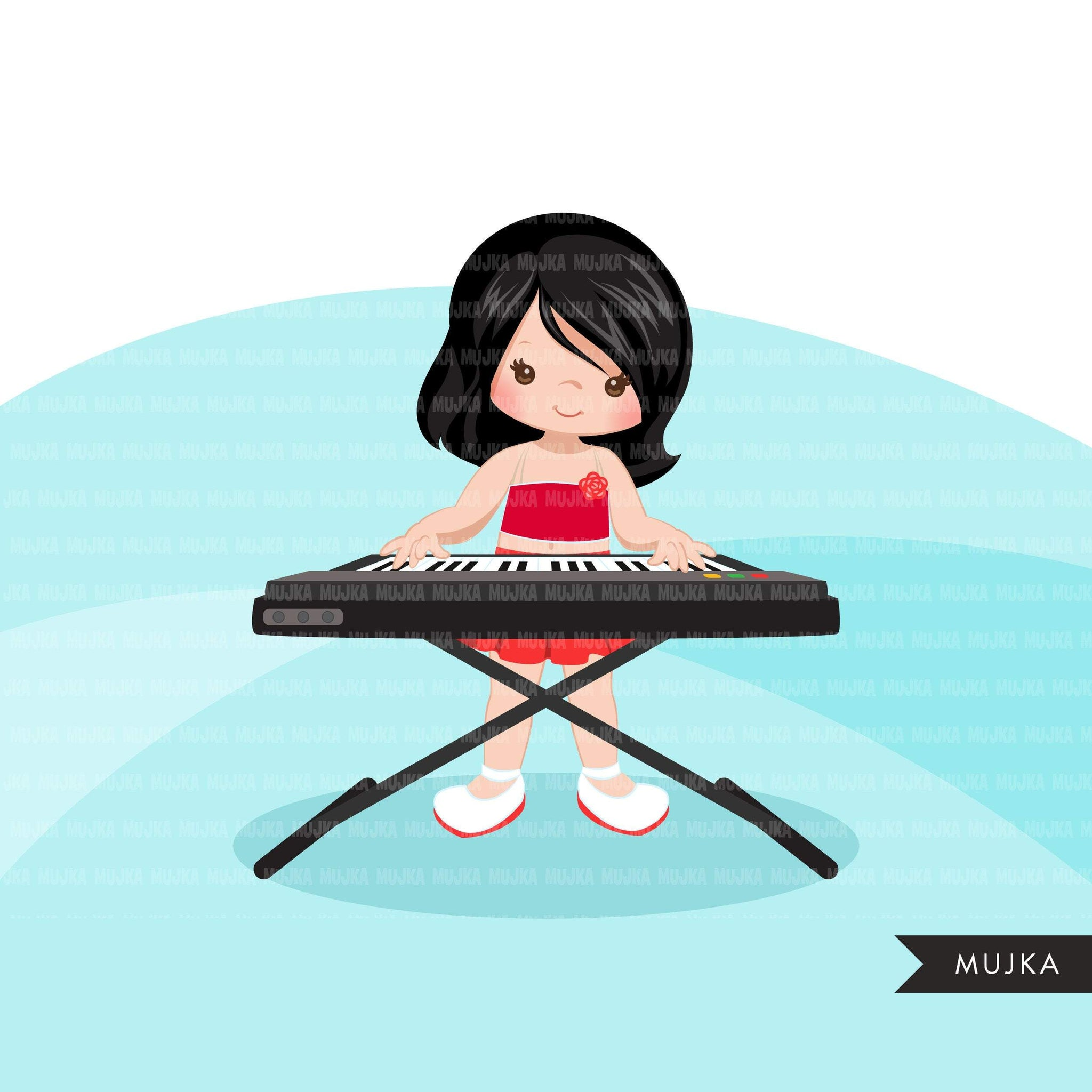Keyboard piano clipart, Music Instruments clipart, education graphics, school band, kids playing music sublimation graphics, PNG clip art