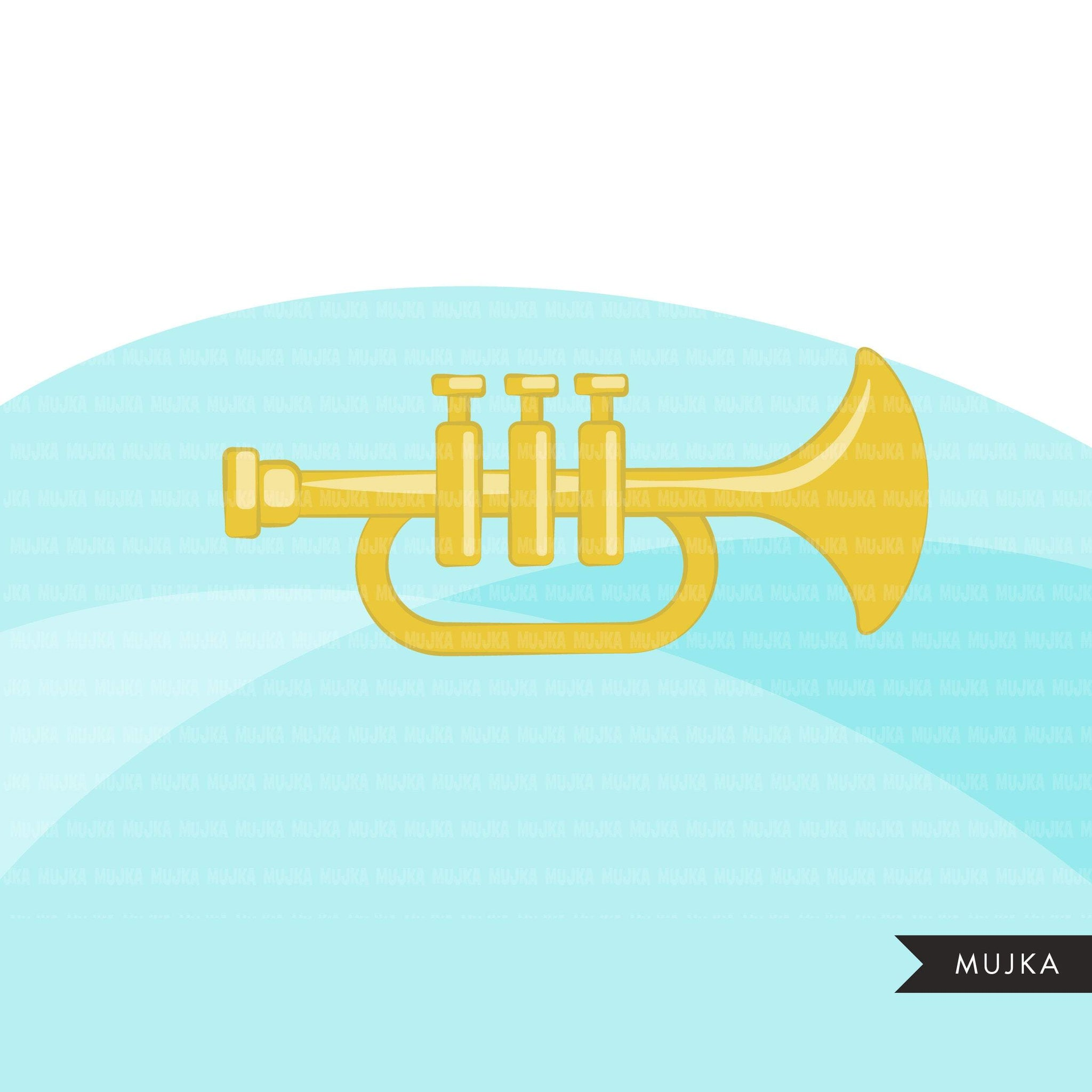 Trumpet clipart, Music Instruments clipart, education graphics, school band, musician sublimation graphics, PNG clip art