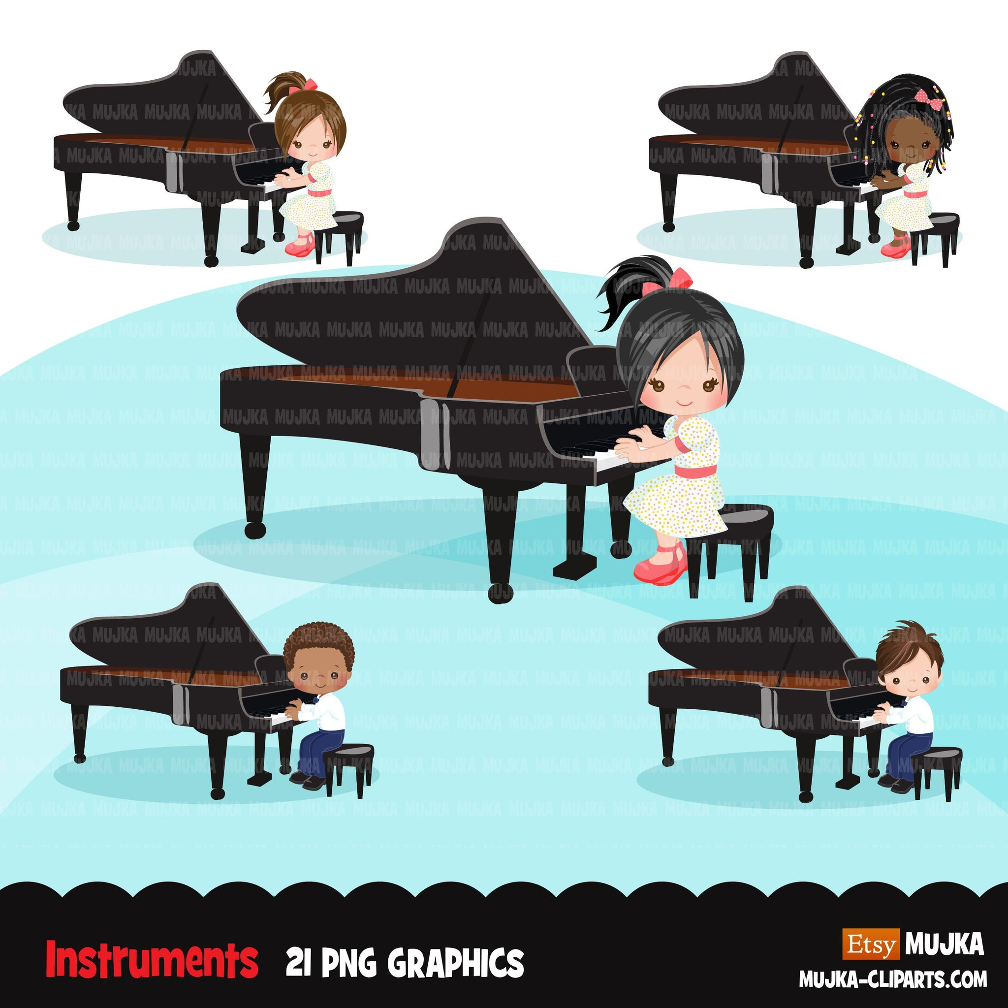 Piano clipart, Music Instruments clipart, education graphics, school band, recital, musician sublimation graphics, PNG clip art