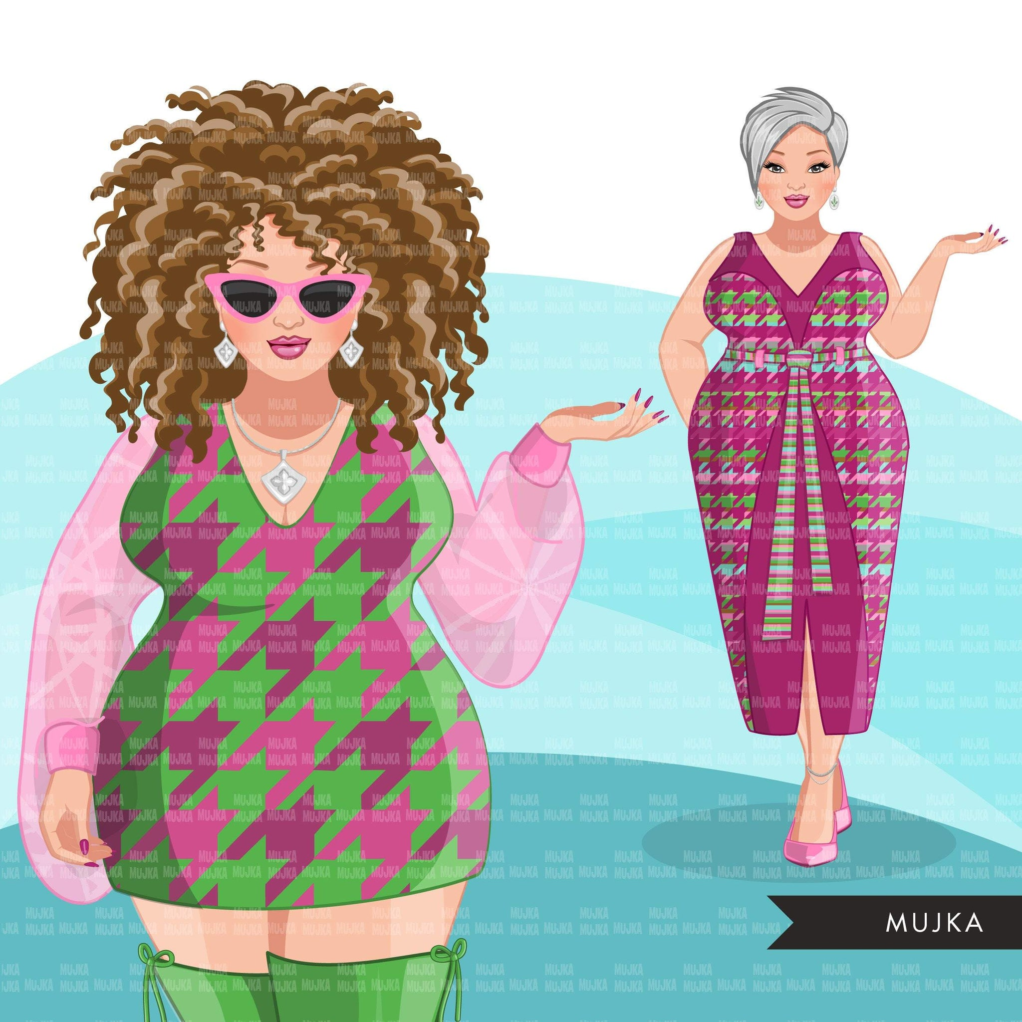 Fashion Clipart, woman graphic, green pink dress, sisters, friends, sisterhood Sublimation designs for Cricut & Cameo, commercial use PNG