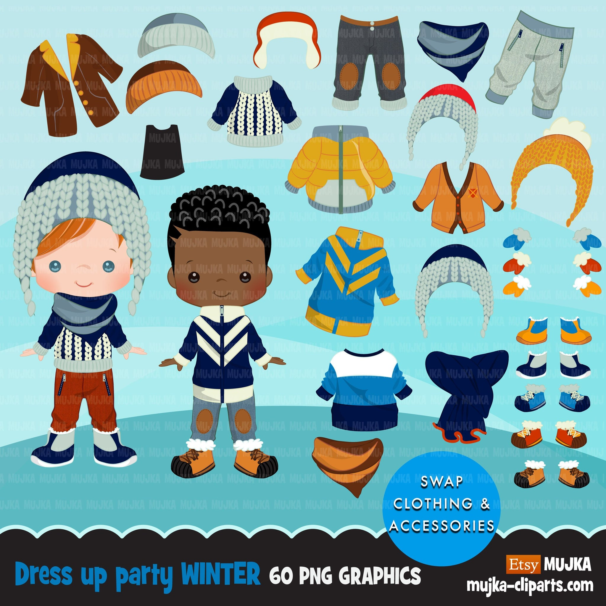 Paper doll clipart, Winter outfits, winter Dress up Party, boy fashion, black boy, png clip art, commercial use sublimation graphics