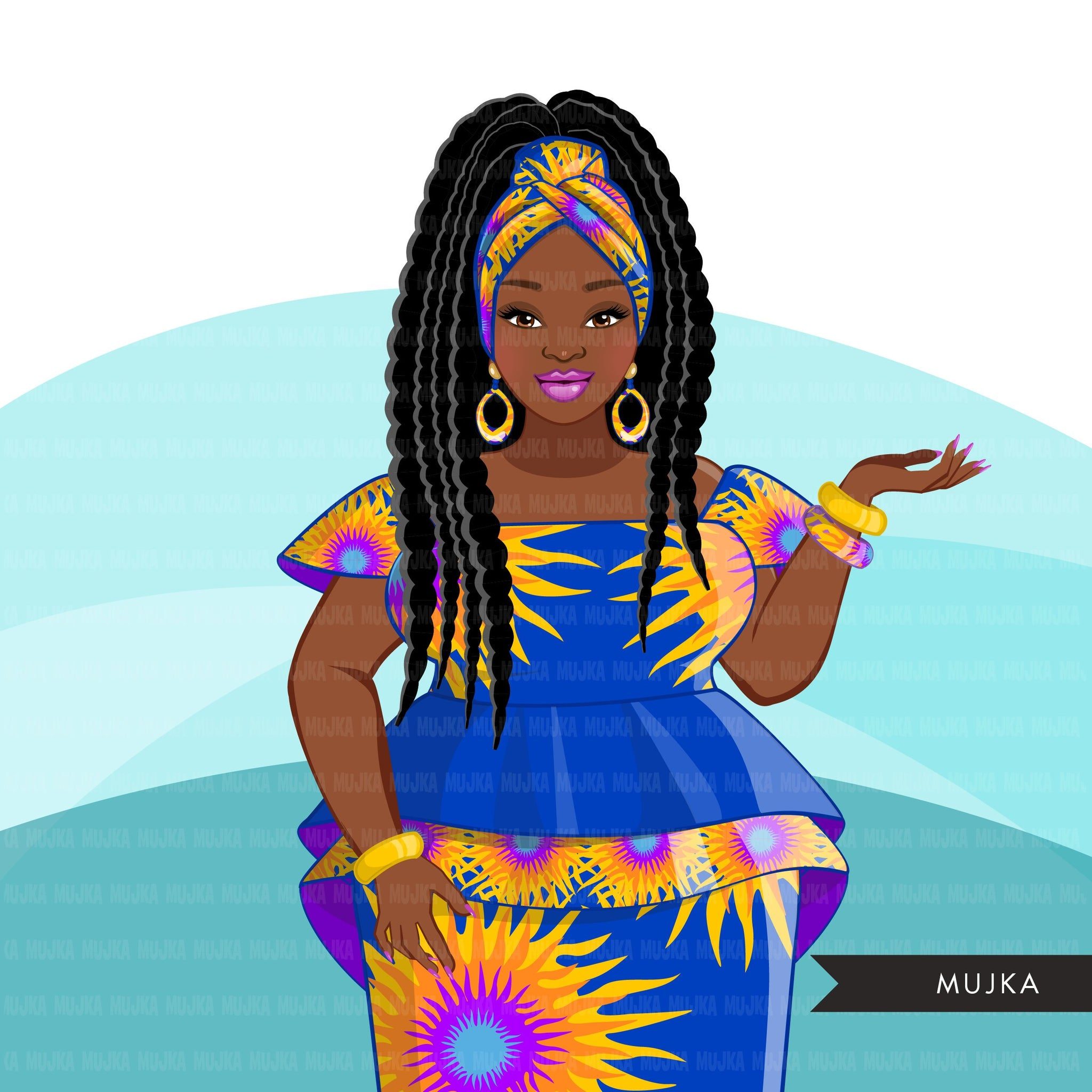 Ankara Fashion Graphics, blue and yellow African dress, curvy black woman Sublimation designs for Cricut & Cameo, commercial use PNG clipart