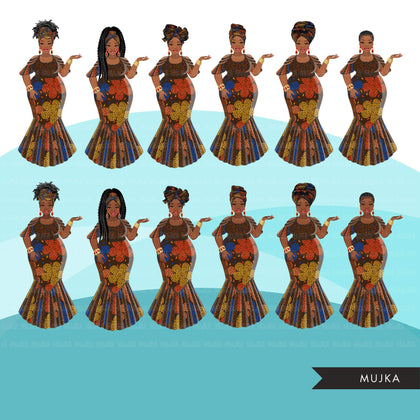 Ankara Fashion Graphics, brown floral African dress, curvy black woman Sublimation designs for Cricut & Cameo, commercial use PNG clipart
