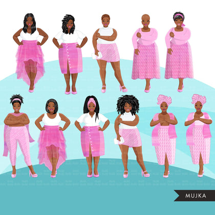 Breast cancer clipart, curvy black woman graphics, survivor, pink ribbon, Sublimation designs for Cricut & Cameo, commercial use PNG