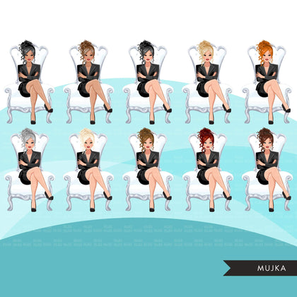 Fashion Graphics, Caucasian Business Woman  white throne messy bun, Sublimation designs for Cricut & Cameo, commercial use PNG clipart