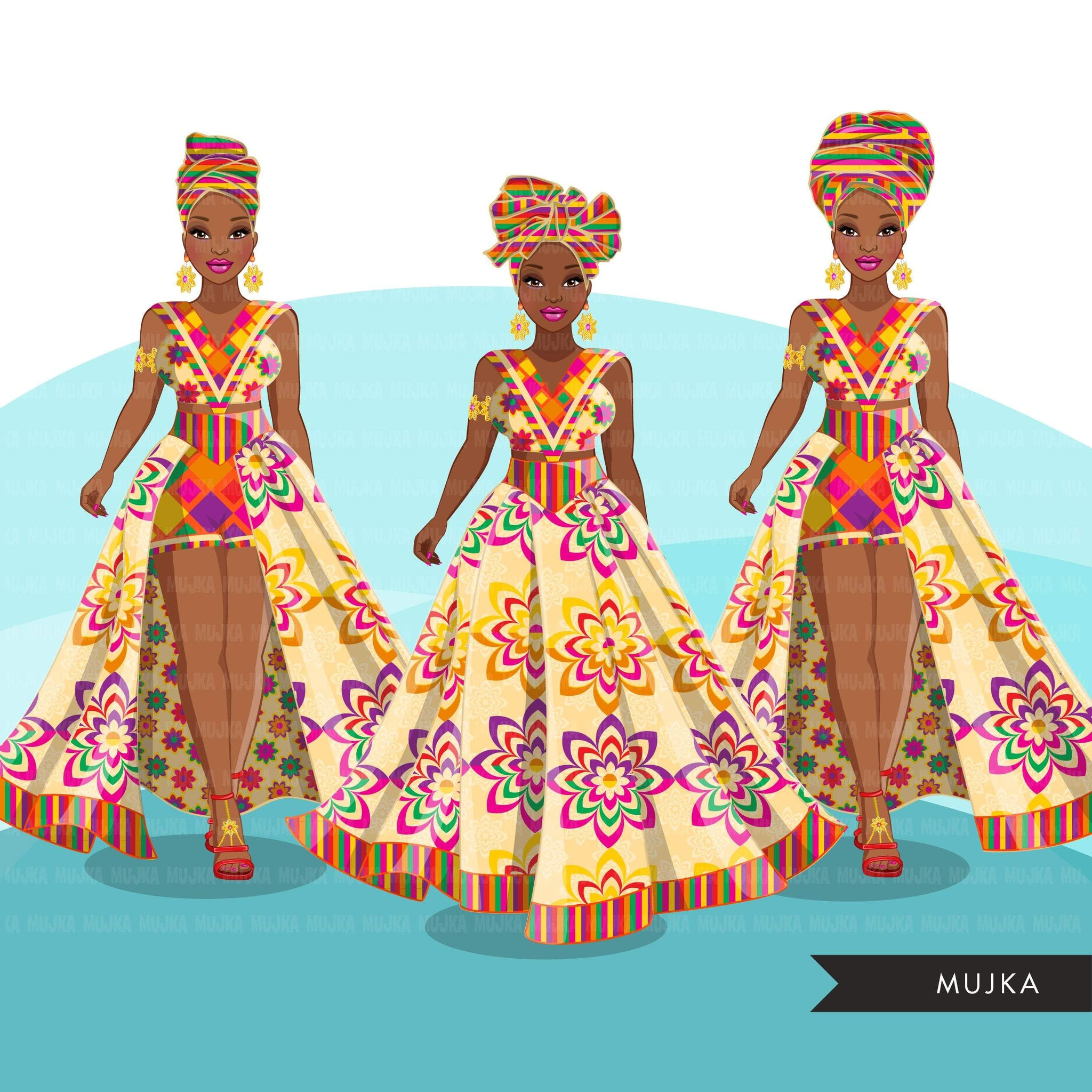 Ankara Fashion clipart, geometric African dress, head wrap, black woman Sublimation designs for Cricut & Cameo, commercial use PNG