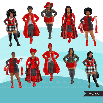 Fashion Clipart, Black curvy woman, black red dress, sister, friends, sisterhood Sublimation design for Cricut & Cameo commercial use PNG