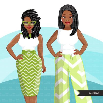 Fashion Clipart, Black woman graphics, green dress, sisters, friends, sisterhood Sublimation designs for Cricut & Cameo, commercial use PNG