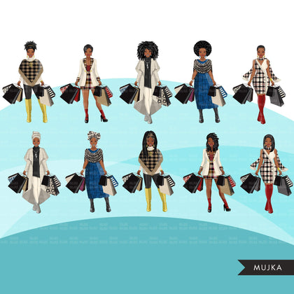 Fall Fashion Graphics, Black Woman shopping, afro woman, sisters, friends Sublimation designs for Cricut & Cameo, commercial use PNG clipart