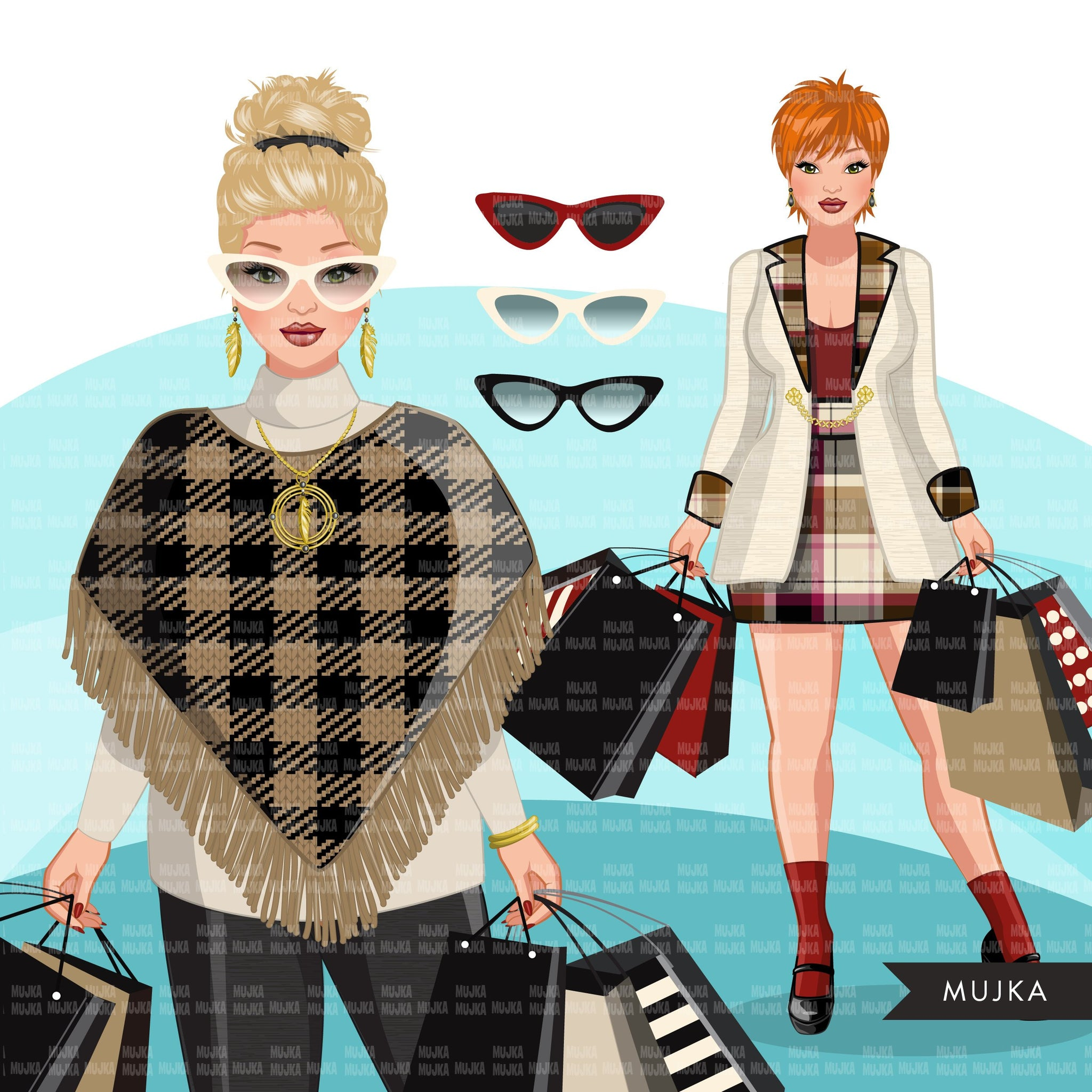 Fall Fashion Graphics, Woman shopping, winter shopping sisters, friends Sublimation designs for Cricut & Cameo, commercial use PNG clipart