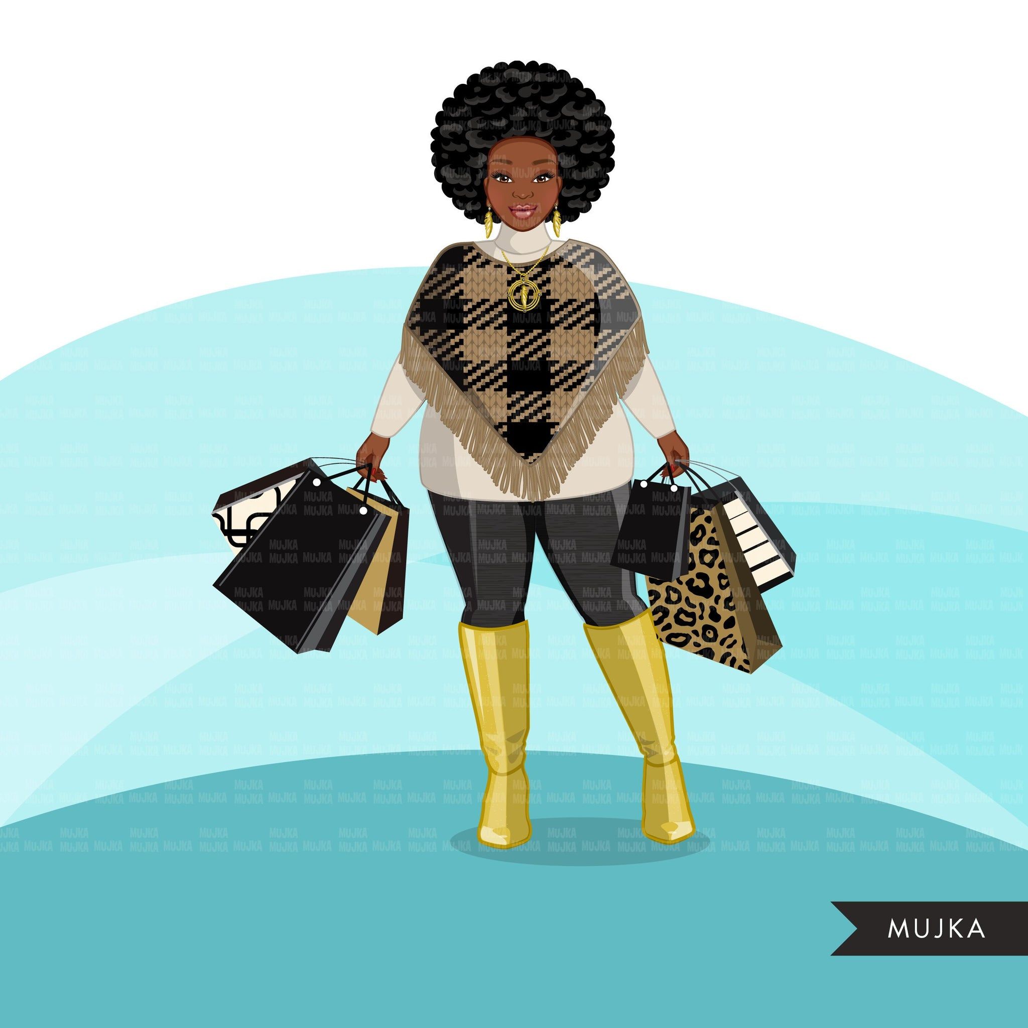 Fall Fashion Graphics, Curvy Black Woman shopping, afro sisters, friends Sublimation designs for Cricut & Cameo, commercial use PNG clipart