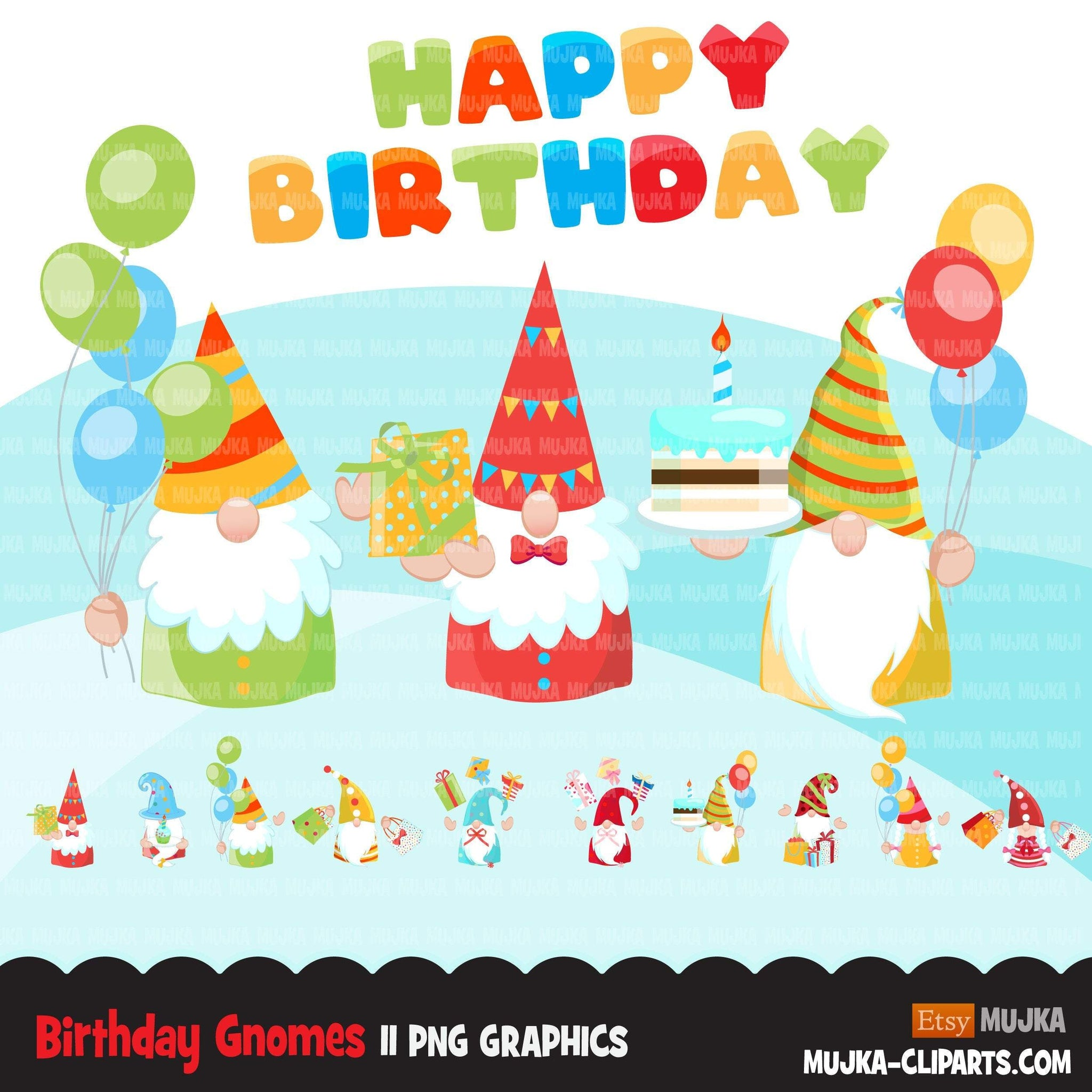 Birthday gnomes Clipart, birthday graphics, colorful party Gnome graphics, png digital sublimation designs