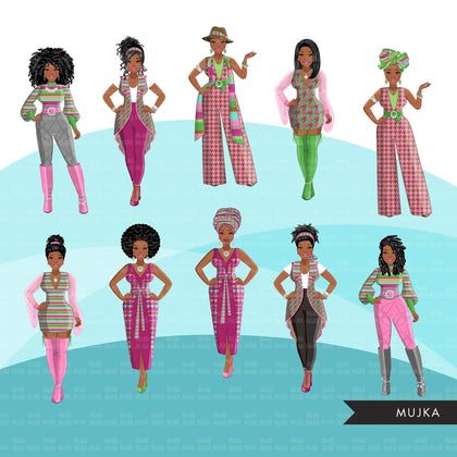 Fashion Clipart, Black woman graphics, green pink, sisters, friends, sisterhood Sublimation designs for Cricut & Cameo, commercial use PNG