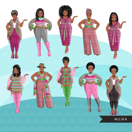 Fashion Clipart, curvy Black woman, green pink, sisters, friends, sisterhood Sublimation designs for Cricut & Cameo, commercial use PNG