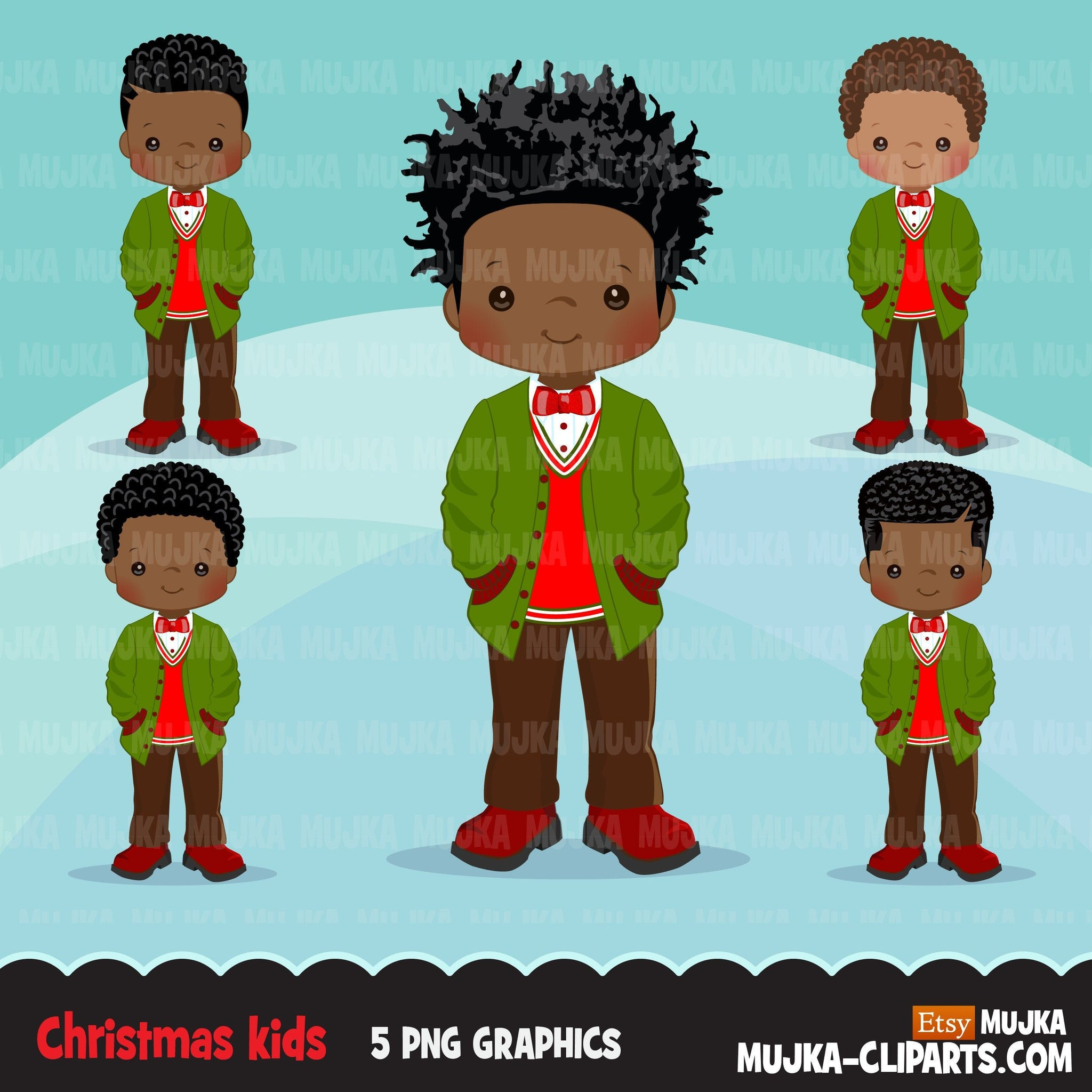 Christmas Clipart, black boy christmas outfit, Noel graphics, Holiday afro characters, png sublimation digital clip art