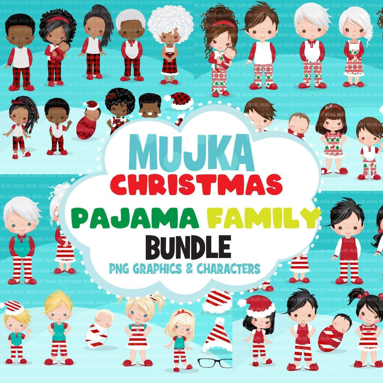 Christmas pajama clipart bundle, Noel Illustrations, pajama family, commercial use graphics, make your own family, Png sublimation clip art