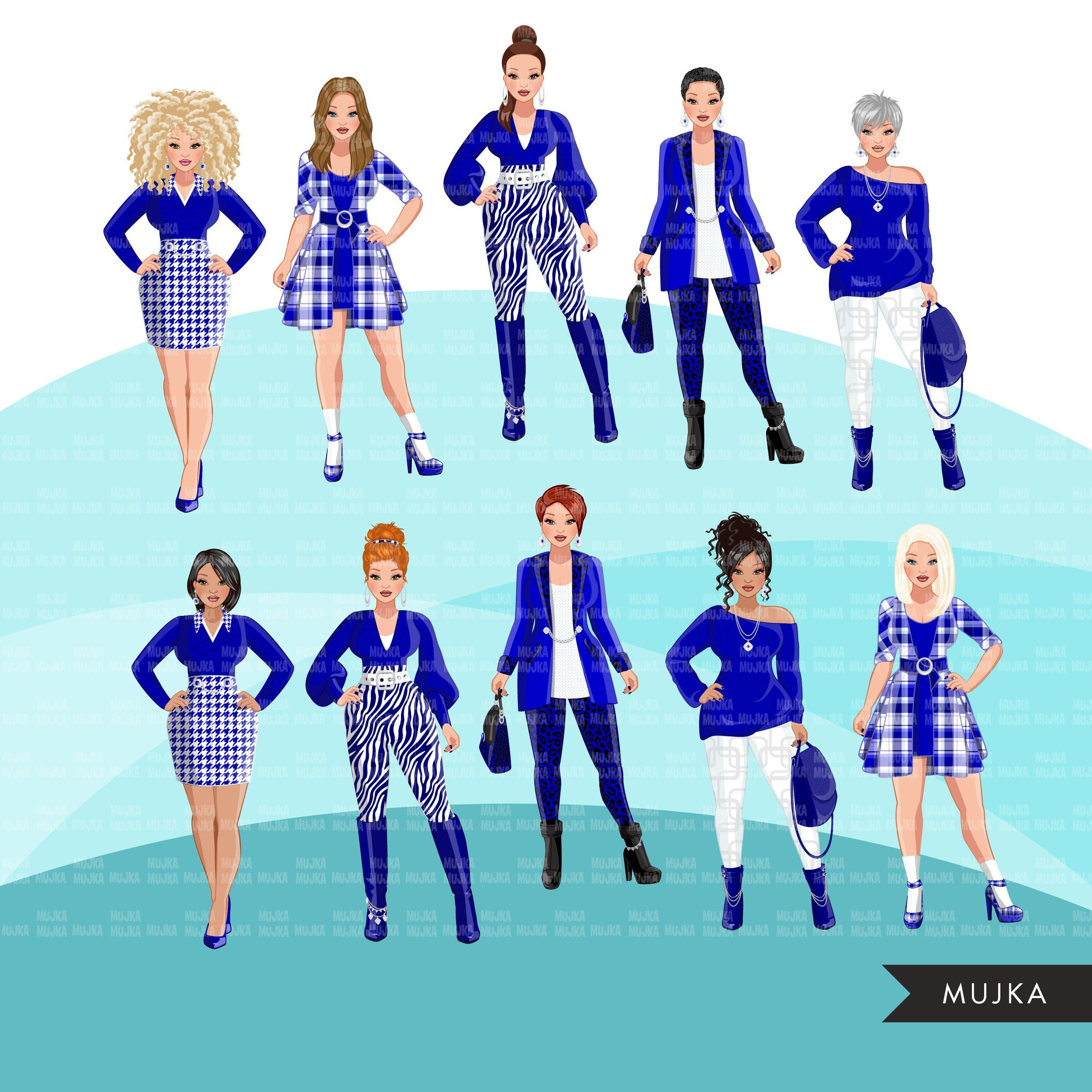 Fashion Clipart, woman graphic, Royal blue white, sisters, friends, sisterhood Sublimation designs for Cricut & Cameo, commercial use PNG