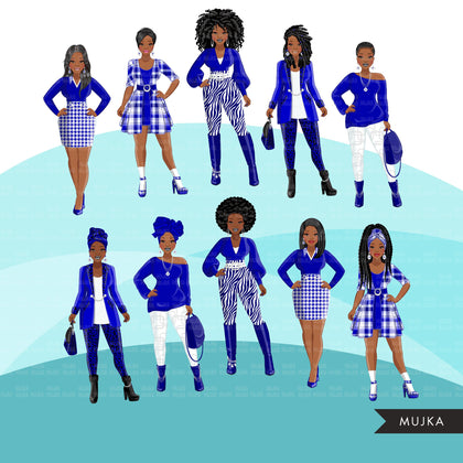 Fashion Clipart, Black woman graphics, royal blue white, sisters, friends, sisterhood Sublimation designs for Cricut & Cameo, commercial PNG