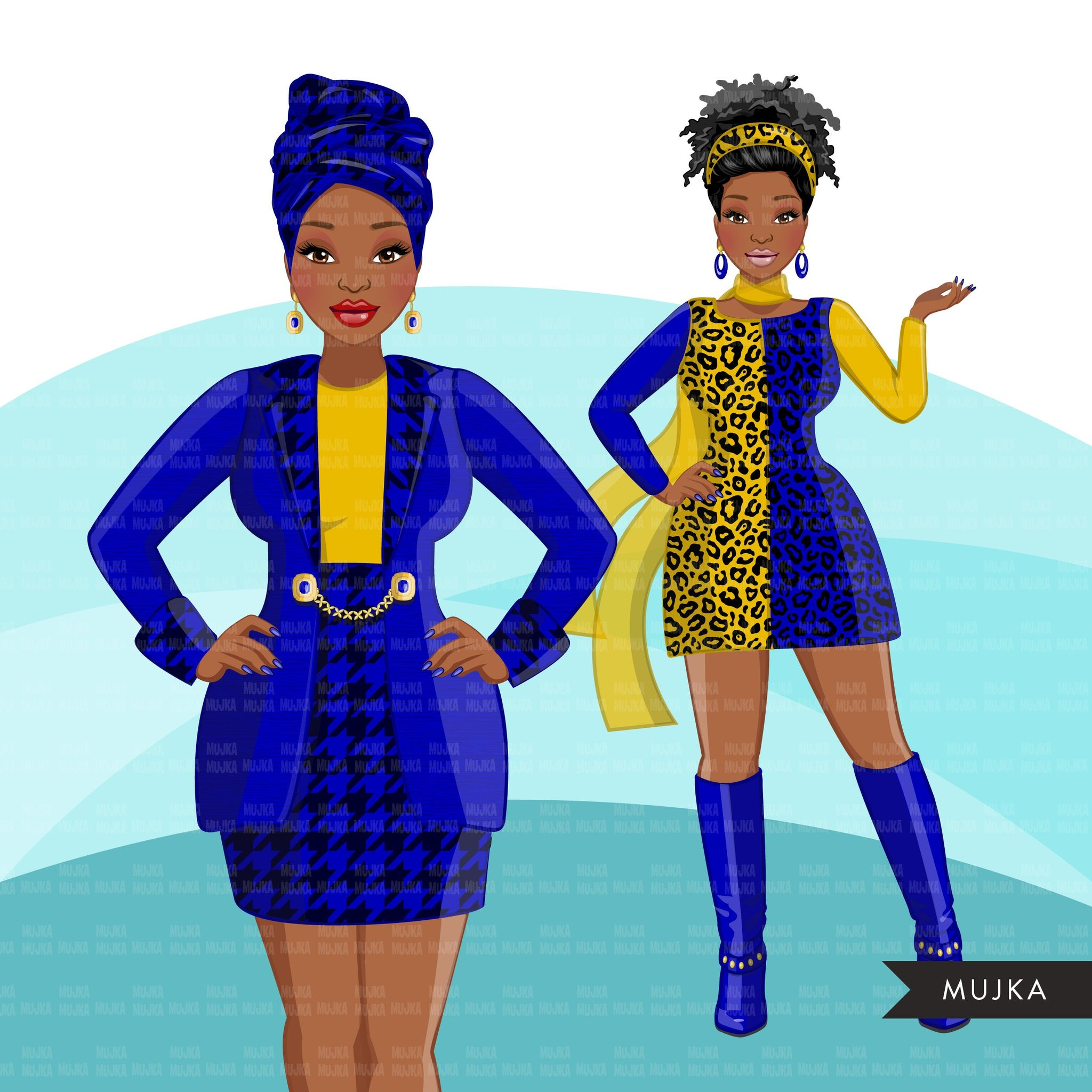 Fashion Clipart, Black woman graphics, royal blue gold, sisters, friends, sisterhood Sublimation designs for Cricut & Cameo, commercial PNG