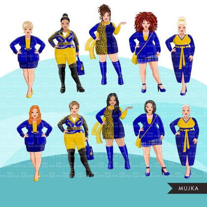 Fashion Clipart, curvy woman graphic, Royal blue gold, sisters, friends, sisterhood Sublimation designs for Cricut & Cameo, commercial PNG