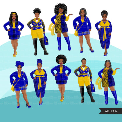 Fashion Clipart, curvy Black woman graphics, royal blue gold, friends, sisterhood Sublimation designs for Cricut & Cameo, commercial PNG