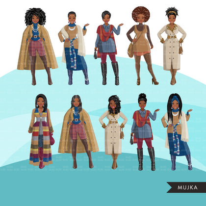 Fashion Clipart, Black woman graphics, fall fashion, sisters, friends, sisterhood Sublimation designs for Cricut & Cameo, commercial use PNG