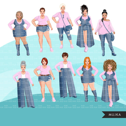 Fashion Clipart, curvy woman graphic, blue jean pink, sisters, friends, sisterhood Sublimation designs for Cricut & Cameo, commercial use PNG