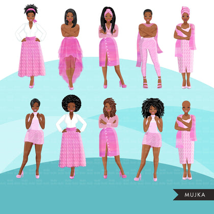 Breast cancer clipart, black woman graphics, survivor, pink ribbon, Sublimation designs for Cricut & Cameo, commercial use PNG