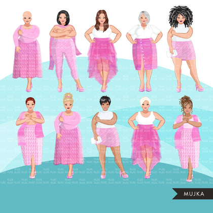 Breast cancer clipart, curvy woman graphics, survivor, pink ribbon, Sublimation designs for Cricut & Cameo, commercial use PNG