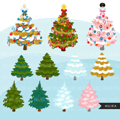 Christmas tree Clipart, Christmas tree creator, ornaments, gift boxes png clip art, commercial use sublimation graphics