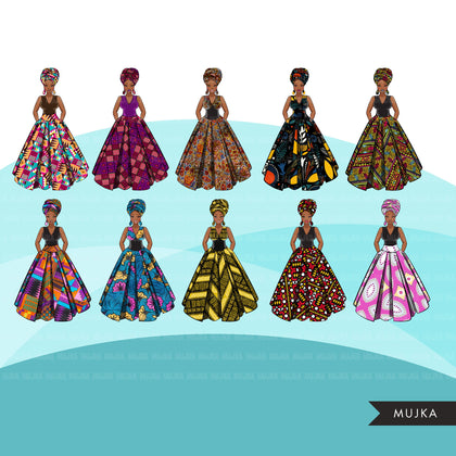 Ankara Fashion Graphics, mix Kente African dress, black woman Sublimation designs for Cricut & Cameo, commercial use PNG clipart