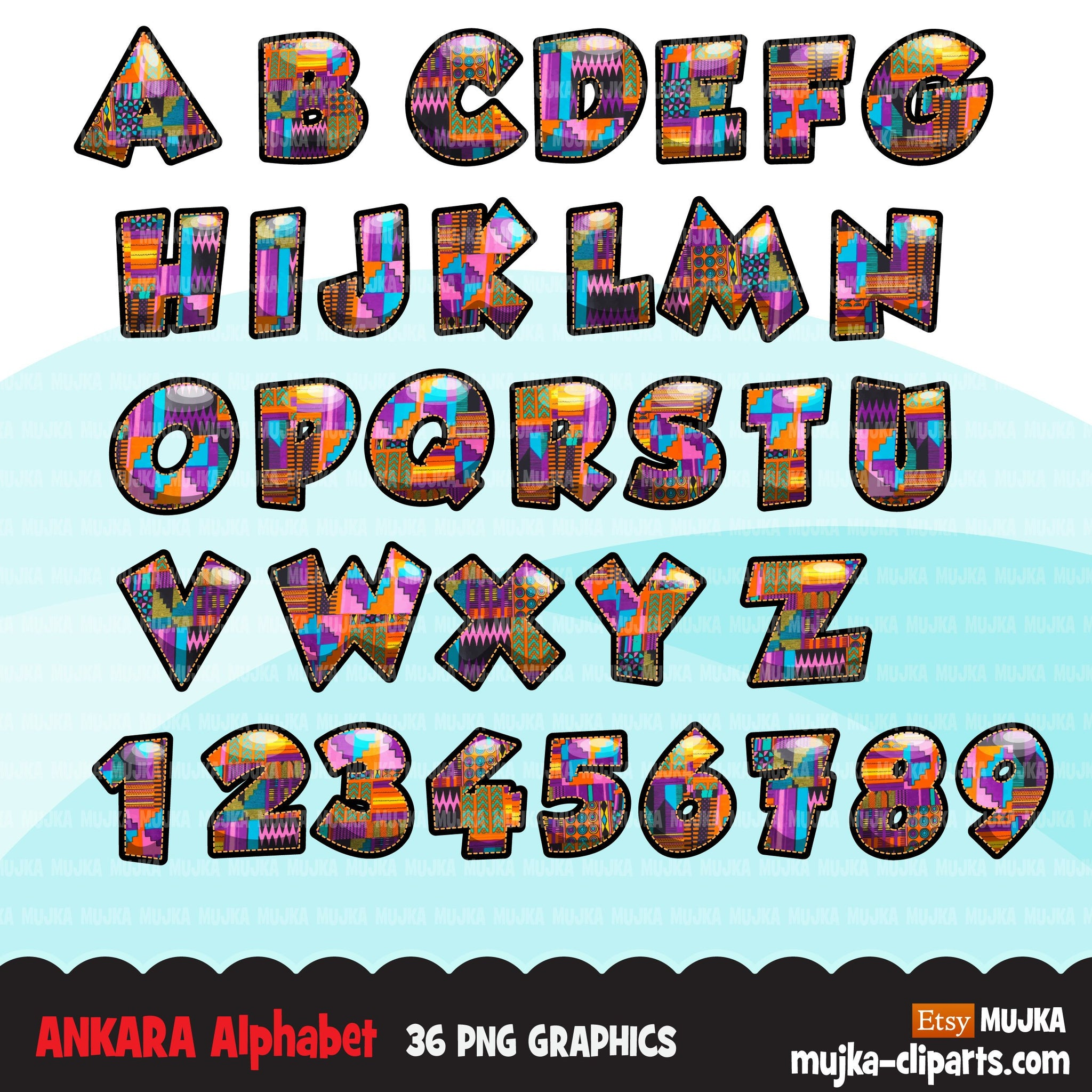 Ankara African Alphabet Clipart, stackable, black history letters, Kwanzaa clipart, kente fabric letters & numbers, PNG graphics