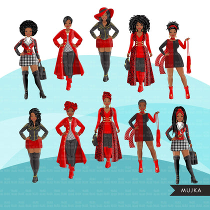 Fashion Clipart, Black woman, black and red dress, sisters, friends, sisterhood Sublimation designs for Cricut & Cameo, commercial use PNG