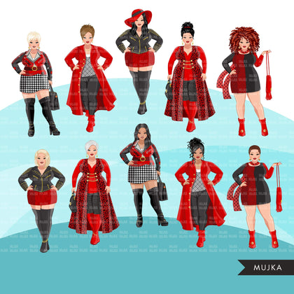 Fashion Clipart, curvy woman red and black dress, sisters, friends, sisterhood Sublimation designs for Cricut & Cameo, commercial use PNG