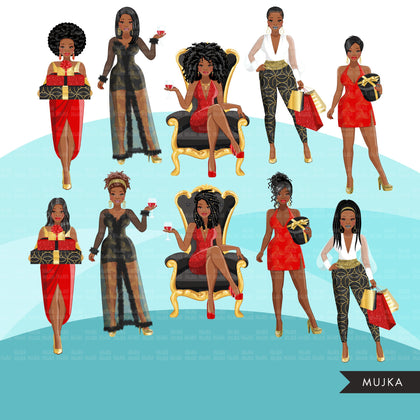 Fashion Clipart, Christmas glam party, black woman, sisters, friends, sisterhood Sublimation designs for Cricut & Cameo, commercial use PNG