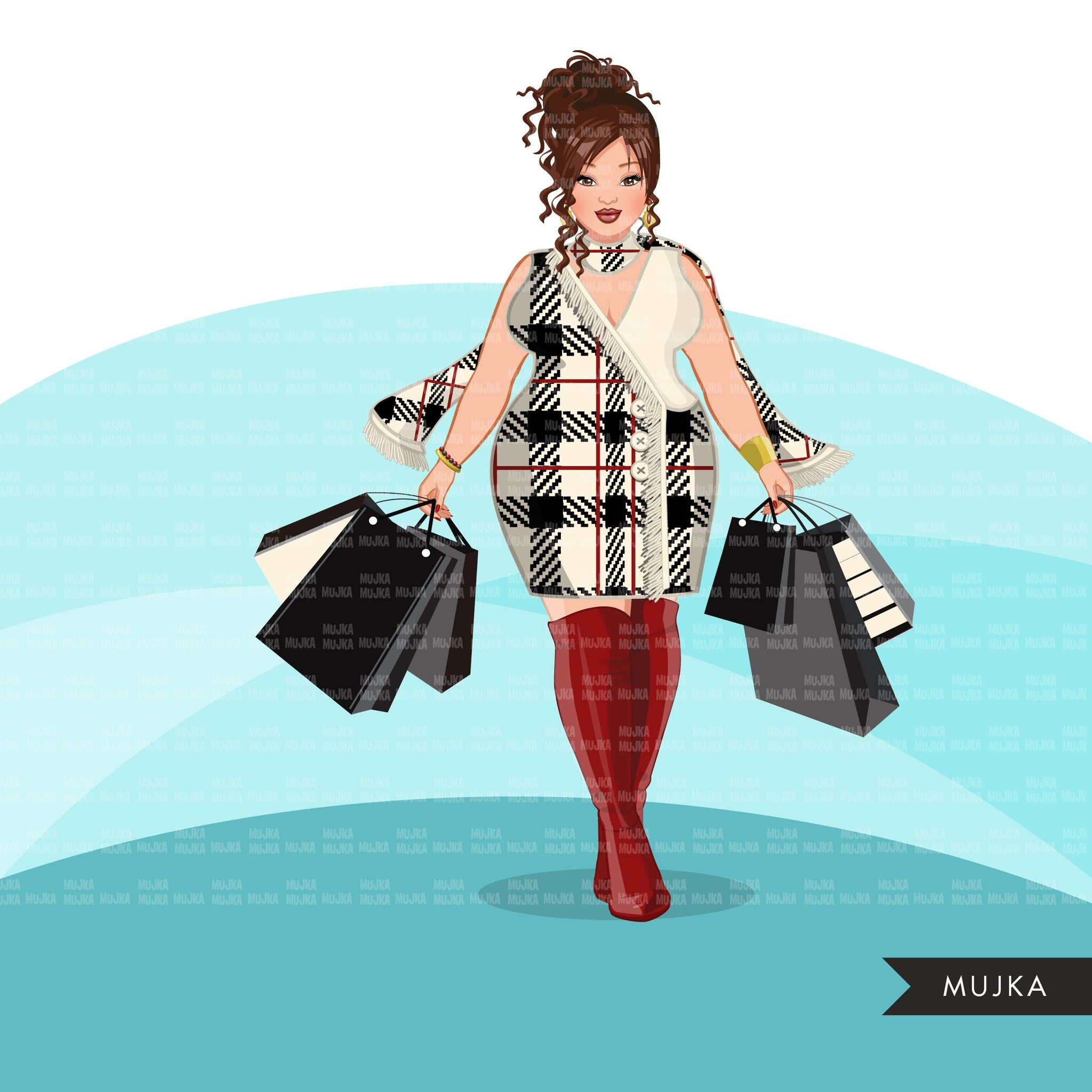 Fall Fashion Graphics, curvy Woman, winter shopping sisters, friends Sublimation designs for Cricut & Cameo, commercial use PNG clipart