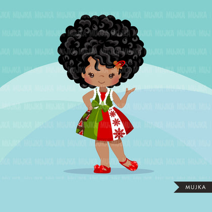 Christmas Clipart, black girl christmas outfit, Noel graphics, Holiday afro characters, png sublimation digital clip art