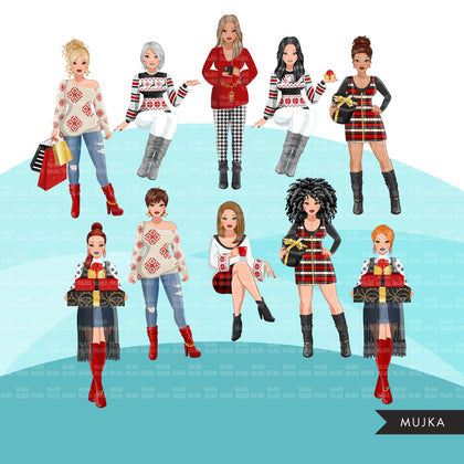 Fashion Clipart, Christmas party, sisters, friends, sisterhood Sublimation designs for Cricut & Cameo, commercial use PNG