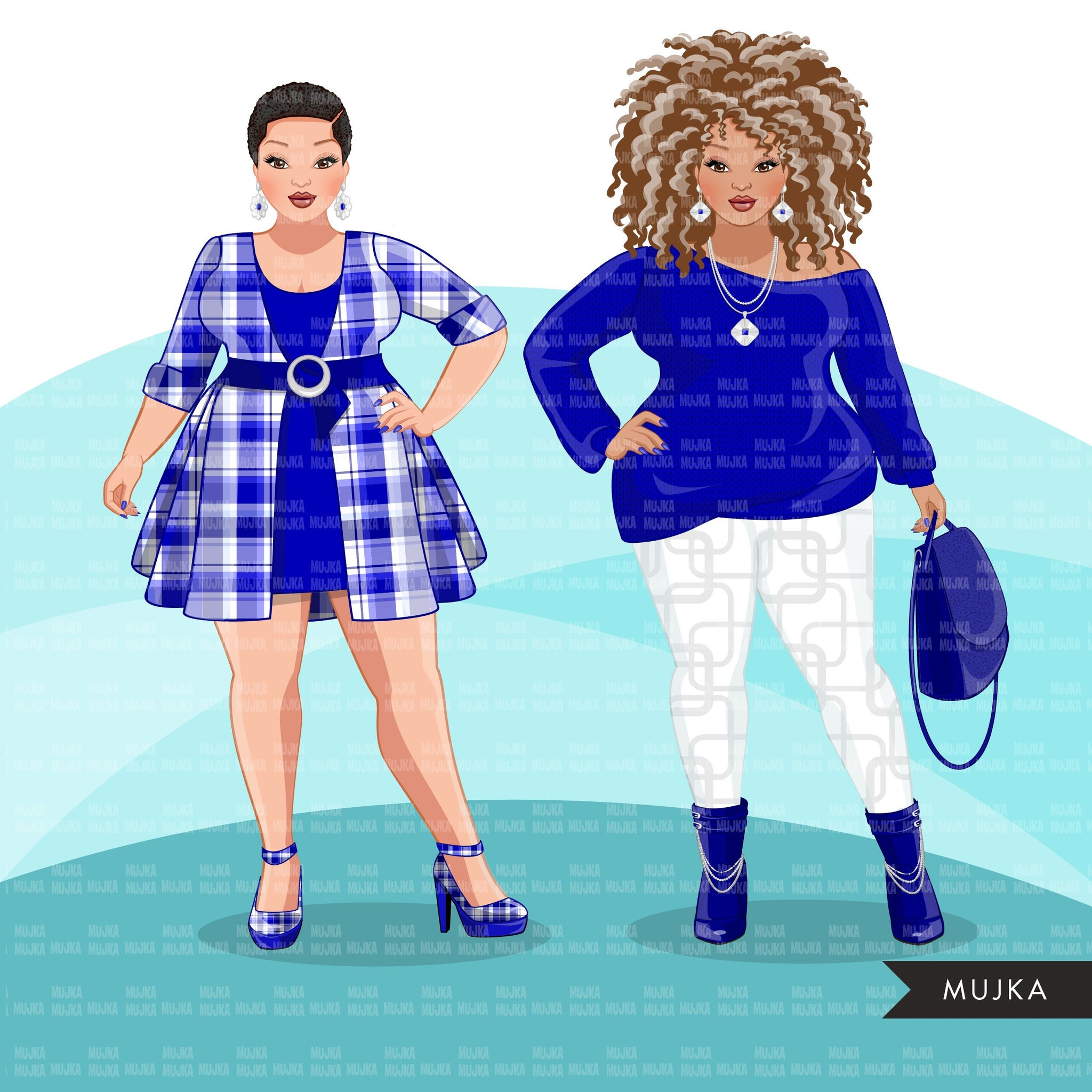 Fashion Clipart, curvy woman graphic, Royal blue, sisters, friends, sisterhood Sublimation designs for Cricut & Cameo, commercial use PNG