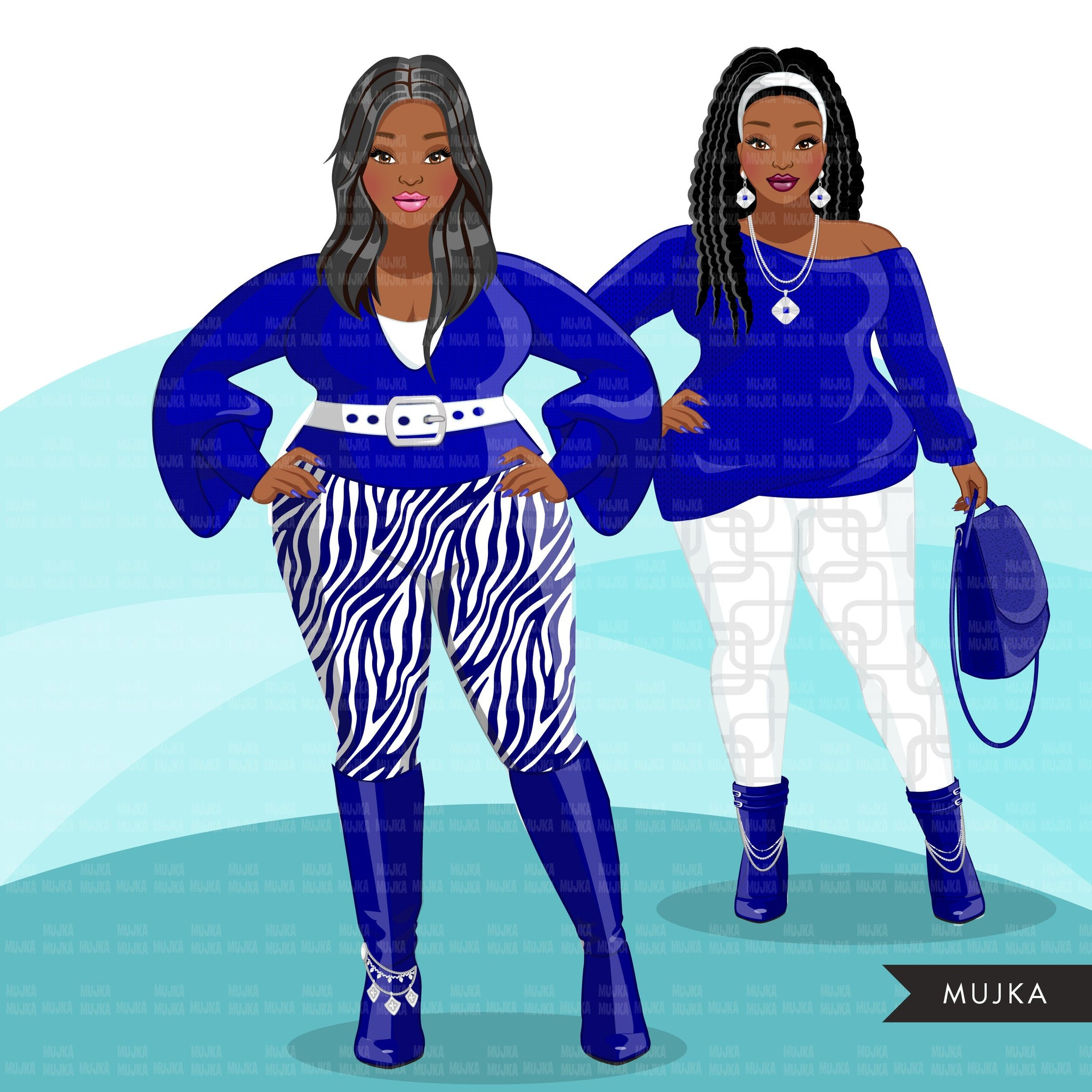 Fashion Clipart, Curvy Black woman graphics, royal blue, sisters, friends, sisterhood Sublimation designs for Cricut & Cameo, commercial PNG