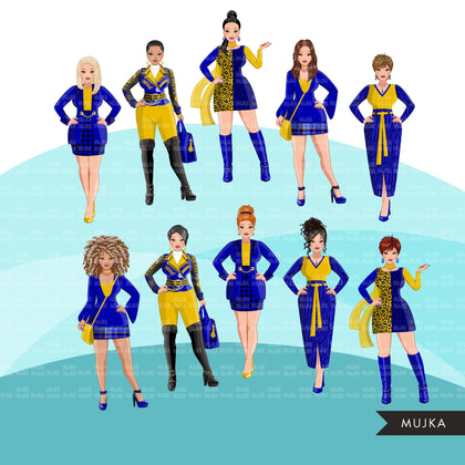 Fashion Clipart, woman graphic, Royal blue gold, sisters, friends, sisterhood Sublimation designs for Cricut & Cameo, commercial use PNG